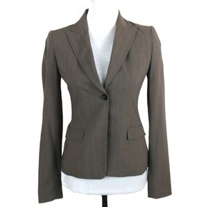 Elie Tahari Brown Pinstripe Wool Blazer Jacket 2